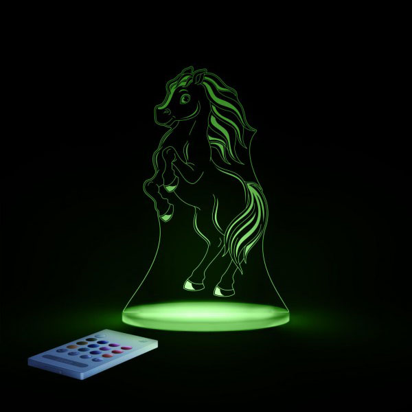 Aloka SleepyLight natlampe med fjernbetjening – pony groen