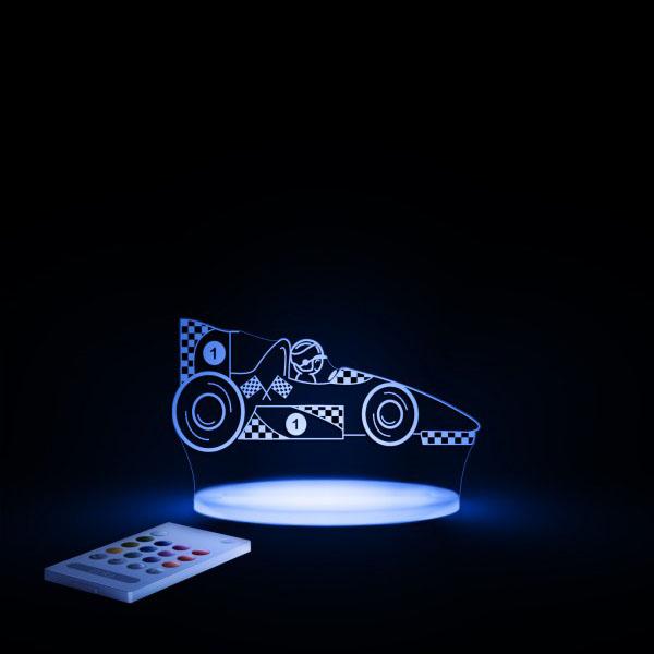 Aloka SleepyLight natlampe med fjernbetjening – racerbil blaa