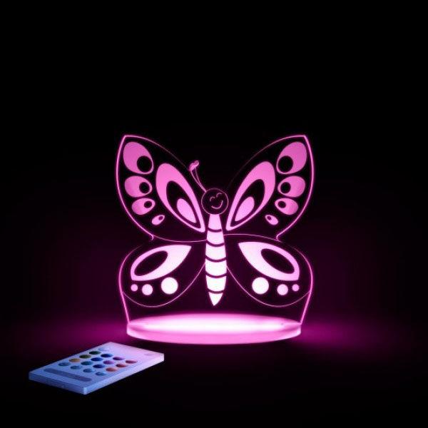 Aloka SleepyLight natlampe med fjernbetjening - sommerfugl